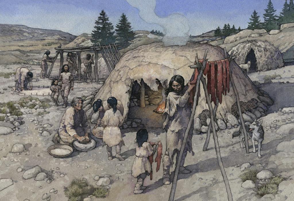 Artist reconstruction of the Upper Crossing site. Art by Greg Harlin.